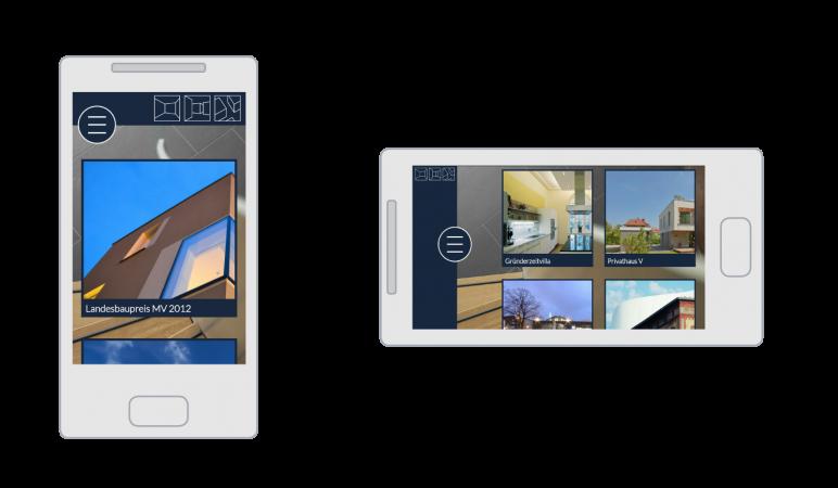 Die GMW Homepage auf dem Smartphone in horizontaler und vertikaler Ansicht (responsive Webdesign)