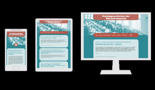 Ansichten für Smartphone, Tablet und PC der Internetseite www.sozialgeschichte-uhrenindustrie.de